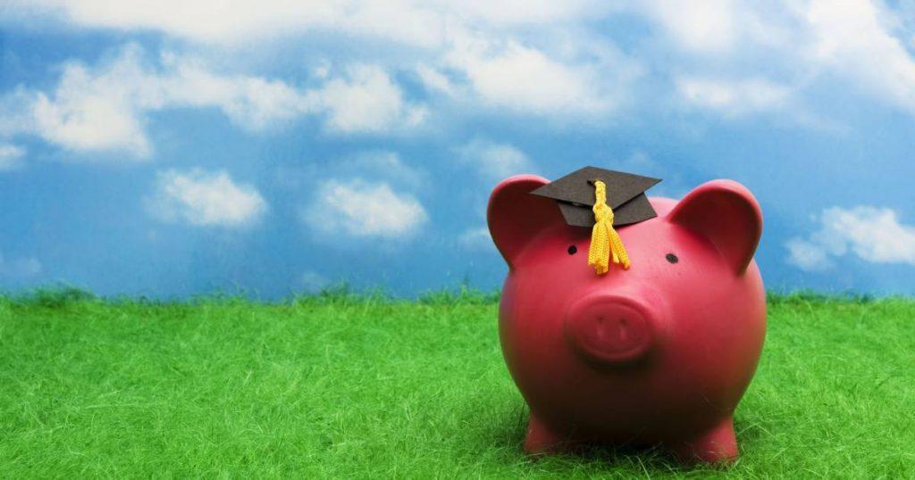 Parents. College Students. Money. Image of a piggy bank with a grad cap.