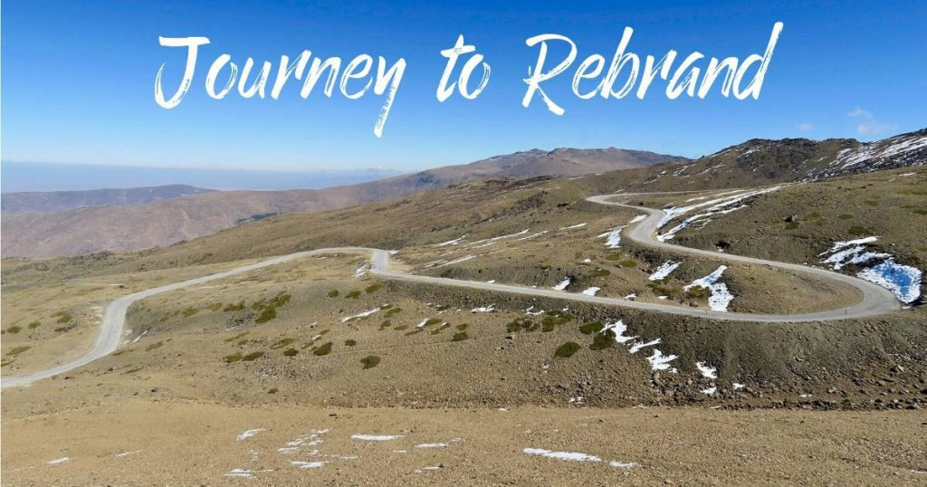 winding road with words Journey to Rebrand